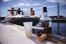 boating wasted BUI image of booze and pills with boat in the background