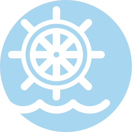 boat operator icon of a ships wheel